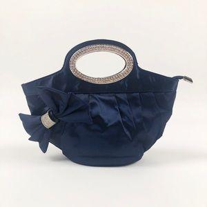 Navy Blue Satin Evening Bucket Clutch.